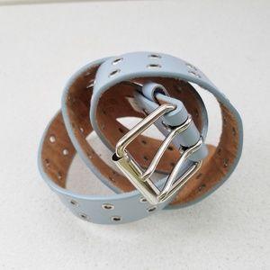 Beautiful Baby Blue Leather Belt w/ Silver Buckle